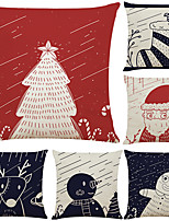 cheap -Set of 6 Funny Christmas Simple Linen Square Decorative Throw Pillow Cases Sofa Cushion Covers 18x18