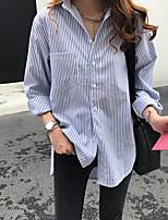 cheap -Women's Blouse Shirt Striped Long Sleeve Patchwork Shirt Collar Tops Cotton Basic Basic Top Blue