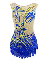 cheap -21Grams Rhythmic Gymnastics Leotards Artistic Gymnastics Leotards Women's Girls' Kids Leotard Spandex High Elasticity Handmade Sleeveless Training Dance Rhythmic Gymnastics Artistic Gymnastics Blue