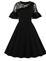 cheap -Women's A-Line Dress Knee Length Dress - Short Sleeve Solid Color Lace Fall Casual Elegant 2020 Black S