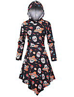 cheap -Skeleton / Skull Dress Adults Women's Vacation Dress Halloween Halloween Festival / Holiday Spandex Polyster Black Women's Easy Carnival Costumes