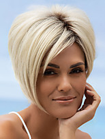 cheap -Synthetic Wig Straight Asymmetrical Wig Short Light Blonde Synthetic Hair Women's Fashionable Design Cool Exquisite Blonde
