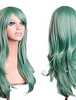 "cheap -28""women's lady full hair curly wig new fashion long big wavy hair heat resistant wig for cosplay party costume w tracking no. (mint green)"