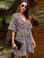 cheap -Women's A-Line Dress Short Mini Dress - Short Sleeve Leopard Patchwork Print Summer V Neck Casual Slim 2020 Dusty Rose S M L XL XXL
