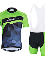 cheap -WECYCLE Men's Women's Short Sleeve Cycling Jersey with Bib Shorts Cycling Jersey with Shorts Polyester Black Green Black / White Patchwork Bike Clothing Suit Breathable 3D Pad Quick Dry Reflective