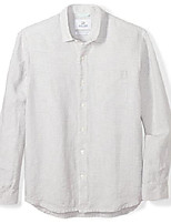 cheap -men's relaxed-fit long-sleeve 100% linen check shirt, grey, xx-large