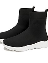 cheap -Women's Boots Sock Boots Flat Heel Round Toe Booties Ankle Boots Casual Daily Tissage Volant Solid Colored Black