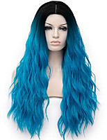 cheap -women blue wig 28 inches synthetic heat resistant middle part ombre long wavy wig for cosplay costume party