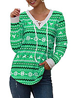 cheap -green women tribal christmas top v neck lace up sweatshirt blouse for new year