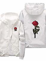 cheap -men's rose print outdoor windproof hoodie zip-up lightweight windbreaker big and tall