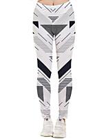cheap -Women's Sporty Yoga Quick Dry Plus Size Skinny Daily Leggings Pants Geometric Pattern Ankle-Length High Waist White