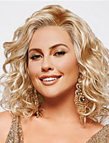 cheap -Synthetic Wig Curly Water Wave Asymmetrical Wig Medium Length Light Brown Dark Brown Blonde Synthetic Hair Women's Fashionable Design Cool Exquisite Blonde Dark Brown