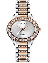 cheap -women fashion swarovski crystal accented gold-tone stainless steel quartz watch ladies waterproof dress two-tone bangle bracelet wristwatches