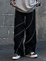 cheap -Women's Sporty Outdoor Loose Daily Wide Leg Pants Pants Striped Full Length High Waist Black Dark Gray