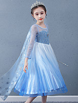 cheap -Princess Cosplay Costume Masquerade Girls' Movie Cosplay A-Line Slip Vacation Blue Dress Shawl Halloween Children's Day Masquerade Organza Cotton
