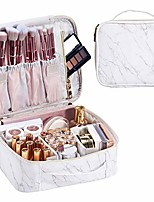 cheap -marble leather makeup bag train case portable travel makeup case storage pu leather cosmetic organizer for girl cosmetic make up tools toiletry jewelry digital accessories - white marble