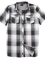 cheap -- short sleeve plaid woven shirt white/gray size small white/gray small