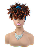 cheap -Synthetic Wig Afro Curly Kinky With Bangs Wig Short Ombre Black / Medium Auburn Synthetic Hair Women's Fashionable Design Color Gradient For Black Women Black Brown