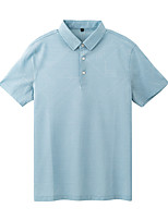 cheap -Men's Golf Polo Shirts Short Sleeve Autumn / Fall Spring Summer UV Sun Protection Breathable Quick Dry Cotton Light Blue / Stretchy