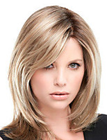 cheap -Synthetic Wig Natural Straight Asymmetrical Wig Medium Length Light Brown Dark Brown Synthetic Hair Women's Fashionable Design Exquisite Dark Brown Light Brown