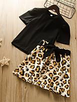 cheap -Kids Girls' Active Chinoiserie Daily Wear Festival Black Leopard Print Short Sleeve Regular Regular Clothing Set Black