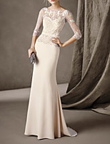 cheap -Mermaid / Trumpet Elegant Cut Out Engagement Formal Evening Dress Illusion Neck 3/4 Length Sleeve Sweep / Brush Train Stretch Satin with Beading Lace Insert 2020