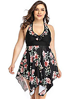 cheap -women's plus size swimsuit floral printed plus swimwear tankini two pieces swimdress 2xl-6xl…