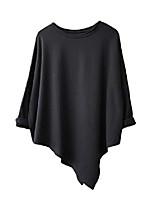 cheap -women's long sleeve t-shirts plus size asymmetric tops loose basic tees(l,black)