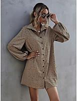 cheap -Women's A-Line Dress Short Mini Dress - Long Sleeve Print Print Fall Casual Puff Sleeve 2020 Camel S M L XL