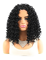 cheap -12 inch Synthetic Wig Medium Length Natural Black #1B Women's Fashionable Design Party Middle Part Bob Black Small Curly Short Wig Headgear Imitation Lace Scalp Mid-point Explosive Headgear