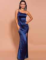 cheap -Sheath / Column Minimalist Sexy Prom Formal Evening Dress One Shoulder Sleeveless Floor Length Spandex with Split 2020