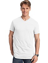 cheap -4.5 oz, 100% ringspun cotton nano-t v-neck t-shirt, large, white