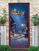 cheap -Christmas Creative 3d Door Stickers Wooden Door Renovation Self-adhesive Pvc Removable Bedroom Wall Stickers