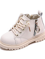 cheap -Boys' Girls' Boots Combat Boots PU Little Kids(4-7ys) Daily Walking Shoes Black Pink Beige Fall Winter / Booties / Ankle Boots / TPR (Thermoplastic Rubber)