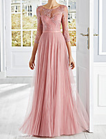 cheap -A-Line Elegant Luxurious Engagement Formal Evening Dress Illusion Neck 3/4 Length Sleeve Floor Length Tulle with Pleats Appliques 2020
