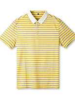 cheap -Men's Golf Polo Shirts Short Sleeve Autumn / Fall Spring Summer UV Sun Protection Breathable Quick Dry Cotton Stripes Yellow / Stretchy