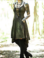 cheap -lady medieval renaissance dress masquerade women's costume red / green vintage cosplay party halloween sleeveless