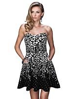 cheap -Women's A-Line Dress Short Mini Dress - Sleeveless Print Backless Summer Strapless Sexy Party Slim 2020 Black Blue S M L XL XXL