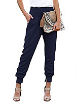 cheap -womens casual summer comfortable solid high waistband cotton jogging jogger pants sweatpants with pockets blue l