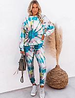 cheap -Women's Tie Dye Daily Wear Two Piece Set Hooded Sweatshirt Pant Print Tops / Slim