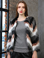 cheap -Long Sleeve Coats / Jackets Faux Fur Party / Evening / Office / Career Bolero With Color Block