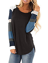 cheap -Women Long Sleeve Tshirts Ladies Jumpers Baseball Tops Round Neck Striped Pullover Sweatshirt Black Large