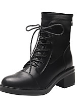 cheap -Women's Boots Block Heel Boots Block Heel Round Toe Booties Ankle Boots Casual Basic Daily Walking Shoes PU Solid Colored Black / Booties / Ankle Boots / Booties / Ankle Boots