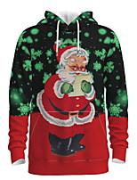 cheap -Daddy and Me Active Santa Claus Graphic 3D Print Print Long Sleeve Regular Hoodie & Sweatshirt Green