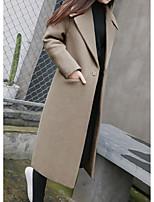 cheap -Women's Fall & Winter Hidden Notch lapel collar Coat Long Solid Colored Daily Black Army Green Khaki Brown S M L XL