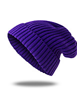 cheap -Men's Women's Hiking Cap Beanie Hat 1 PCS Winter Outdoor Windproof Warm Soft Thick Skull Cap Beanie Solid Color Woolen Cloth Black Purple Yellow for Fishing Climbing Running