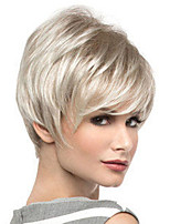 cheap -Synthetic Wig Straight Asymmetrical Wig Short Blonde Silver Synthetic Hair Women's Fashionable Design Classic Exquisite Silver Blonde