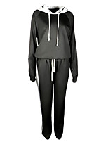 cheap -Women's Solid Color Two Piece Set Sweatshirt Pant Tops / Slim