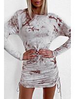 cheap -Women's Sheath Dress Short Mini Dress - Long Sleeve Tie Dye Patchwork Fall Sexy 2020 Gray S M L XL