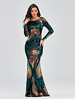 cheap -Mermaid / Trumpet Elegant Sparkle Party Wear Formal Evening Dress Jewel Neck Long Sleeve Floor Length Sequined with Sequin 2020